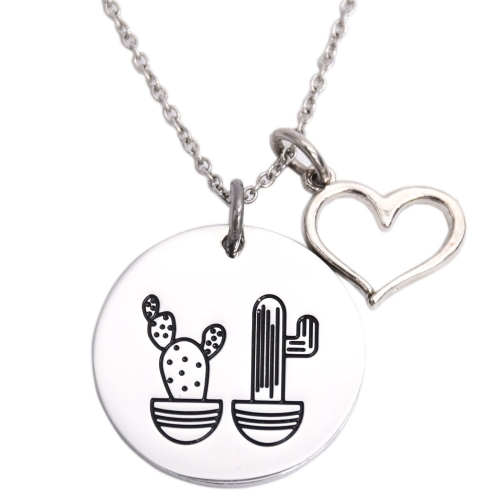 LParkin Cactus Necklace We Stick Together Best Friend Necklace Stainless Steel Sister Necklaces