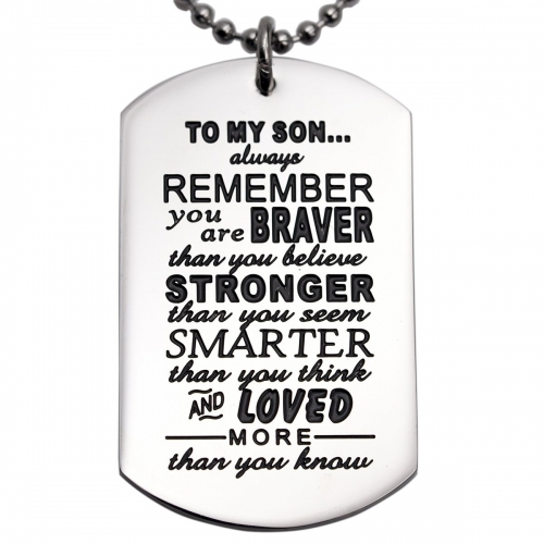 LParkin Son Gifts from Dad Mom Daddy Mommy You are Braver Than You Believe Necklace Jewelry Pendant Dog Tag