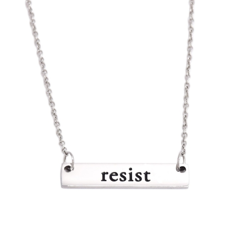LParkin Resist Necklace Rectangle Feminism Trump Resistance Bar Necklaces Stainless Steel