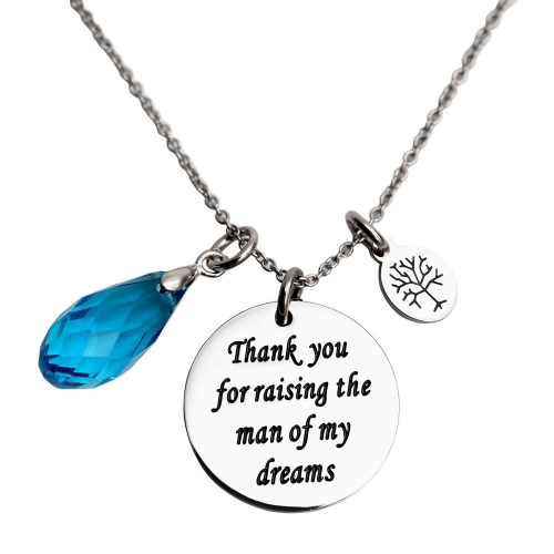 LParkin Mother in Law Gift Thank You for Raising The Man of My Dreams Wedding Gift for MIL Necklace for Mother in Law