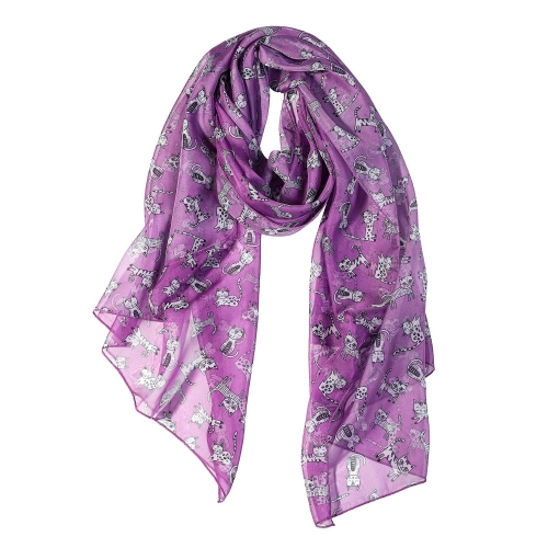 White Cat Women Scarves Lightweight Shawl Head Wraps