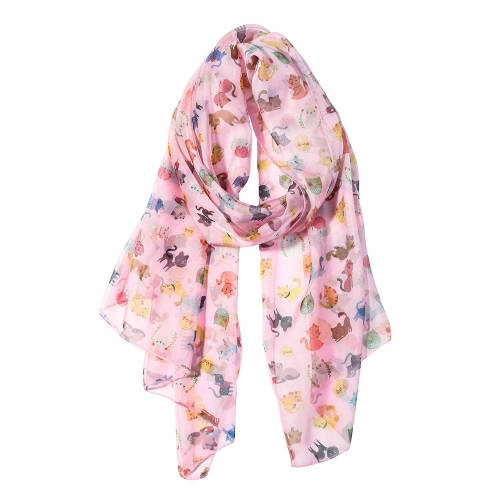 Colorful Cats Women Scarves Lightweight Shawl Head Wraps