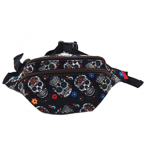 Sugar Skull Gift Bag Fanny Pack Hip Waist Canvas Bum Belt Hip Pouch Bags