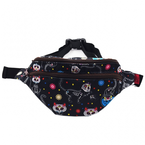 LParkin Day of the Dead Cats Gifts Fanny Pack Waist Hip Pouch Bags Dia de los Muertos Sugar Skull Cats