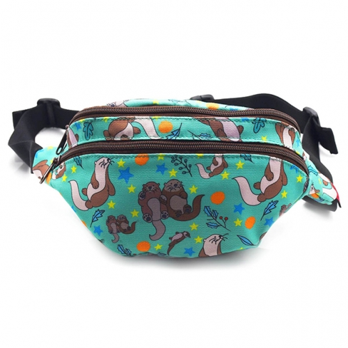Otters Bag Gift Fanny Pack Hip Bag Waist Bag Canvas Bum Belt Hip Pouch Bags