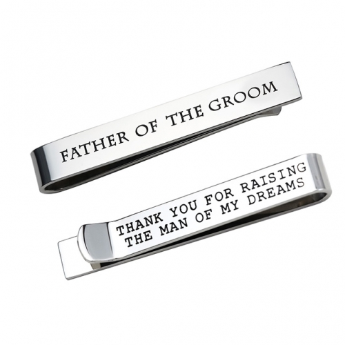 LParkin Father of The Groom Gifts Wedding Tie Clips Gifts for Groomsmen from The Bride Stainless Steel Tie Bars