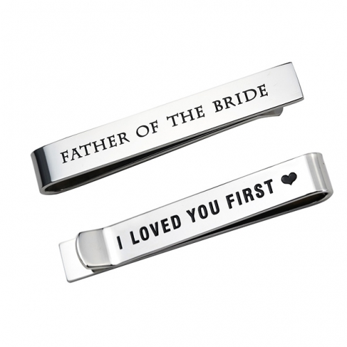 LParkin Father of The Bride Gifts Wedding Tie Clips Gifts for Groomsmen from The Bride Stainless Steel Tie Bars