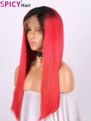 Spicyhair 150% density dark root red straight full lace wig