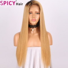 Spicyhair 150% density dark root #27color straight full lace wig