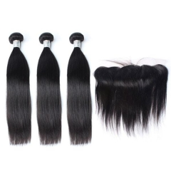 Spicyhair DHL free shipping 3 straight Bundles with 1 piece 13×4 lace frontal