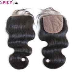 Spicyhair Tangle free Top Quality bodywave  4×4 Silk Base closure