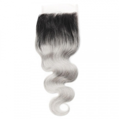 Spicyhair 100% No Shedding 1b/Grey Bodywave Closure