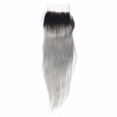Spicyhair 100% No Smell No Mix 1b/Grey Straight Closure