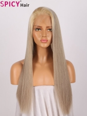 Spicyhair remy human hair grey golden straight lace front wig
