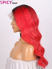 Spicyhair 150% density dark root red body wave lace front wig