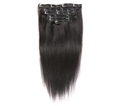 100%  Top Quality Virgin human straight clip-in hair extensions.