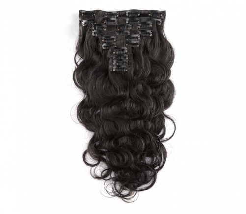 100%  Good Quality Virgin human bodywave clip-in hair extensions.