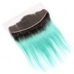 Spicyhair 100% Fashional looking dark root sky blue Straight human hair Frontal