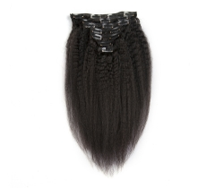 100%  No Tangle Virgin human kinkystraight clip-in hair extensions.