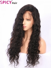 Spicyhair 300% humanhair free shipping top quality water wave lace front wig