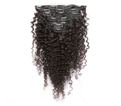 100%  No Shedding Virgin human kinkycurly clip-in hair extensions.