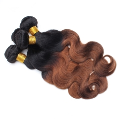 Spicyhair 100% Natural looking brown ombre Bodywave human hair Bundles