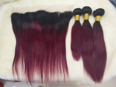 Spicyhair 100% human hair dark root 99J 3 straight Bundles with 1 piece 13×4 lace frontal