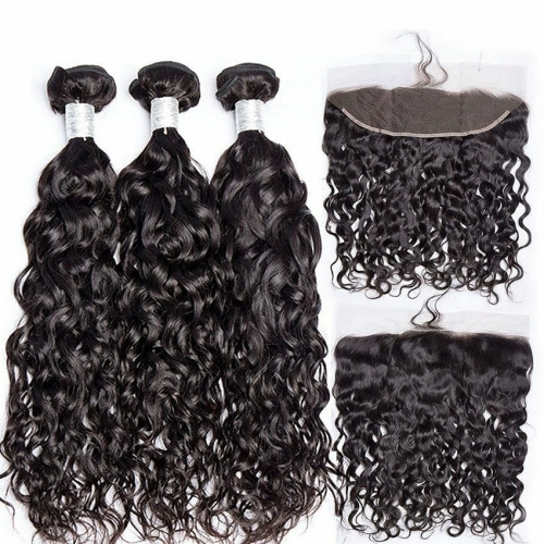 Spicyhair DHL free shipping Good Looking 3 Water Wave Bundles with 1 piece 13×4 lace frontal