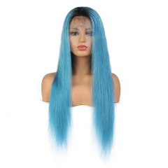 Spicyhair  Best Quality color wig for sale dark root Blue Straight full lace wig