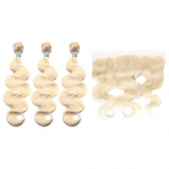 Spicyhair 100% human hair Fashional Looking  #613 3 Body Wave Bundles with 1 piece 13×4 lace frontal