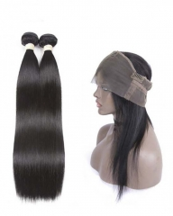 Spicyhair High Quality 100% Human Hair Selling directly from Factory 2 Straight  Bundles with 1 piece 360 lace frontal