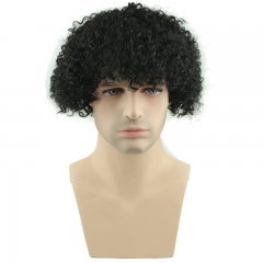 Afro Kinky Curly Short Wig 100% Brazilian Remy Human Hair 130% Density Short Wig Toupee Hairpiece for Men (Black)