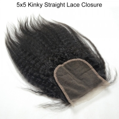 Spicyhair  10A Top Quality Kinky Straight 5×5 lace closure 100% human hair no shedding and tangle free.