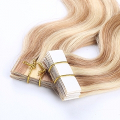 Spicyhair 10A high quality  tangle free double drawn #613 #27 Tape in hair extension