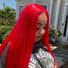 Spicyhair  affordable 100% human Red Straight full lace wig