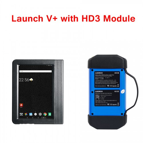 X431 PRO3 Launch X431 V+ 10.1inch Tablet Global Version with HD3 Ultimate Heavy Duty Adapter Work on both 12V & 24V Cars and Trucks