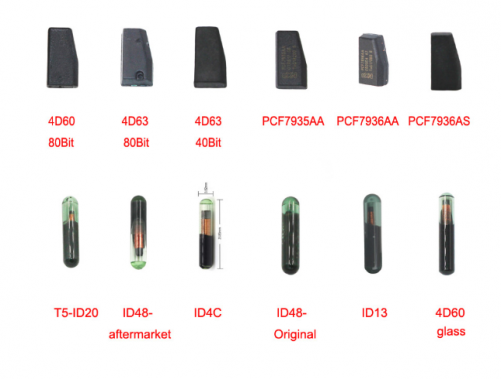 Transponder Car Key Chip 4D60 4D63 ID48 ID13 ID4C PCF7935AA PCF7936AA PCF7936AS T5-ID20 4D60 Glass Chip