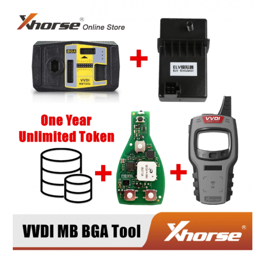 Xhorse VVDI MB BGA Tool +1 Year Unlimited Tokens + Benz FBS3 Keyless PCB + ELV Emulator + Mini key tool