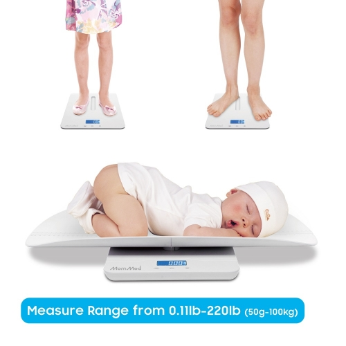 Baby Scale, Multi-Function Toddler Scale, Pet Scale, with Hold Function, Blue backlight, Weight(Max: 220 Pound) and Height Track (Max: 24inch)