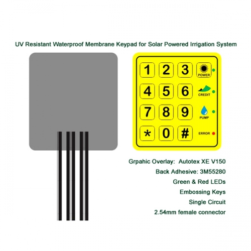 UV Resistant Waterproof Membrane Keypad for Solar Powered Irrigation System