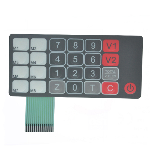 Embossed keys poly dome in top circuit tactile membrane switch