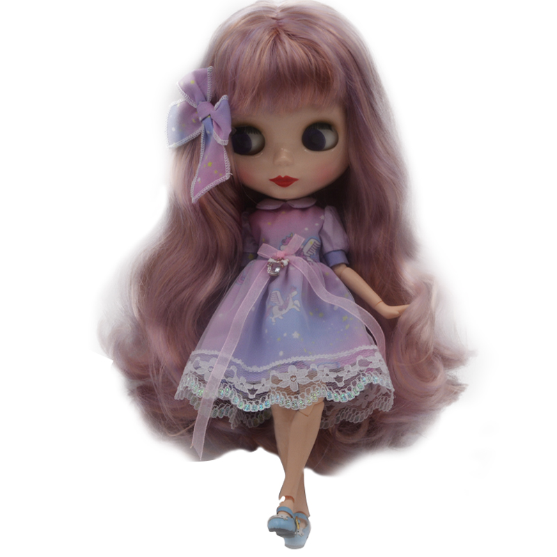 """12/"""" Neo Blythe Doll From Factory Jointed Body Black Skin Brown Hair Partial Hair"""