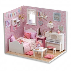 Cutebee Diy Dollhouse Miniature Kit with Furniture, Wooden Mini Miniature Dollhouse kits, Casa Miniatura Dolls House Plus Dust Proof
