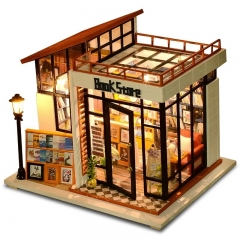 DIY Doll House Miniature Dollhouse With Furnitures Wooden House Miniaturas Toys For Children New Year Christmas Gift Book Store