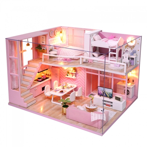 DIY Doll House Wooden doll Houses Miniature dollhouse Furniture Kit Toys for children Christmas Gift L026