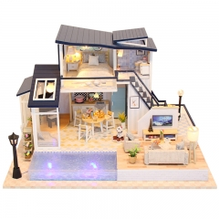 DIY Doll House Wooden Doll Houses Miniature dollhouse Furniture Kit Toys for children Christmas Gift 13849