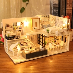 Cutebee Diy Dollhouse Miniature Kit with Furniture, Wooden Mini Miniature Dollhouse kits, Casa Miniatura Dolls House Plus Dust Proof Music Movement