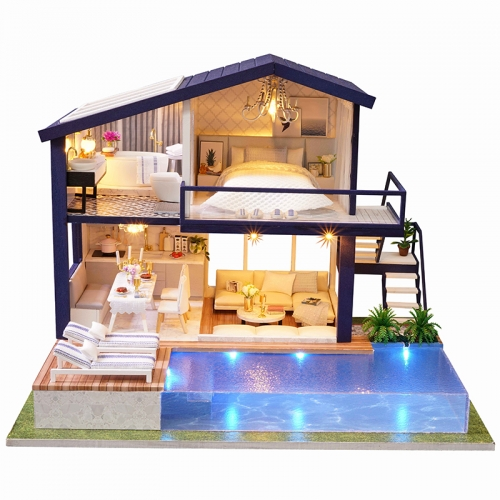 Cutebee Diy Dollhouse Miniature Kit with Furniture, Wooden Mini Miniature Dollhouse kits, Casa Miniatura Dolls House Plus Music Movement