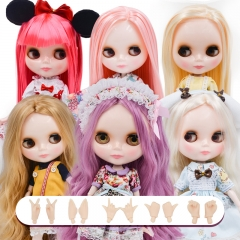 Blythe Doll NBL, Neo Blythe Doll Nude Customized Shiny Face Dolls Can Changed Makeup and Dress DIY, 1/6 BJD Ball Jointed Dolls