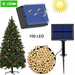 Solar Outdoor String Lights (8 Modes 1200mAh) with USB Charger Dual Charging Functions 100 LED 40 ft Waterproof Decorative Garden Lights for Parties,C